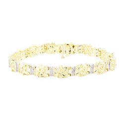 0.65 ctw Diamond Men's Nugget-Style Bracelet - 10KT Yellow Gold