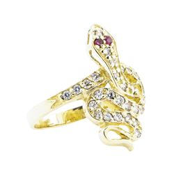 0.70 ctw Ruby and Cubic Zirconia Snake Ring - 14KT Yellow Gold