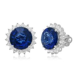 18k Gold 11.75CTW Blue Sapphire Earrings, (SI1/F-G/Treated Blue)