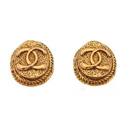 Chanel Vintage Gold CC Logo Oval Disc Medallion Clip On Earrings