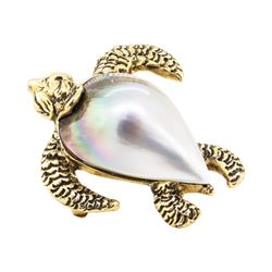 Mother of Pearl Turtle Pin - 14KT Yellow Gold