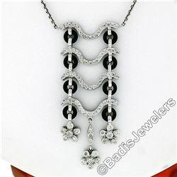 18kt White Gold 1.15 ctw Black Onyx and Diamond Flower Dangle Pendant Necklace