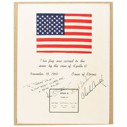 Apollo 12 Crew-Signed Flown Flag Display