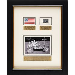 Dave Scott's Apollo 15 Surface-Flown Flag and License Plate Display