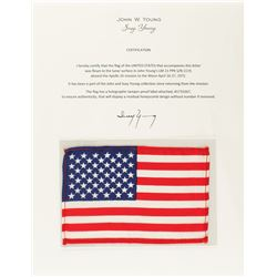 John Young's Apollo 16 Lunar Flown American Flag [Attested to by Susy Young]