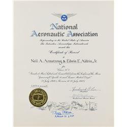 Buzz Aldrin's National Aeronautic Association World Record Certificate