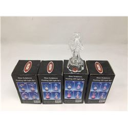 Battery Operated Glass LED Sculptures Lot of 4