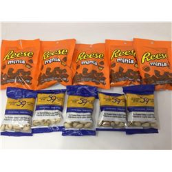 Reese Minis (5 x 104g) and 59th Street Dry Roasted Salted In-Shell Pistachios (5 x 40g)