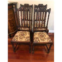 4 Antique Oak Barley Twist Chairs