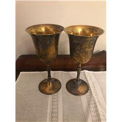 2 Brass Wine Glasses