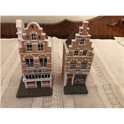 2 ceramic house figurines