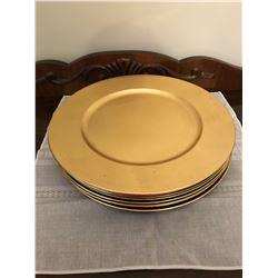 10 Gold Plastic Plates