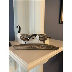 2 Canada Geese Wood Carving
