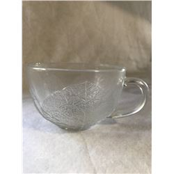7 embossed glass teacups