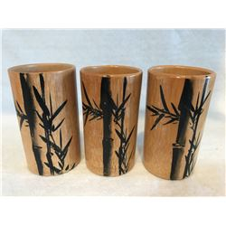 3 bamboo cups