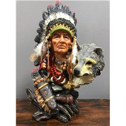 Indian Chief and Wolf statue