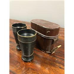 Antique binoculars with case