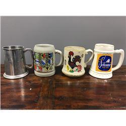 3 ceramic beer mugs and 1 metal