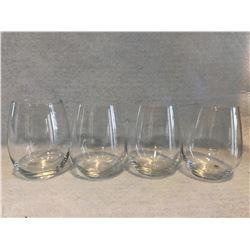 4 stemless wine glasses