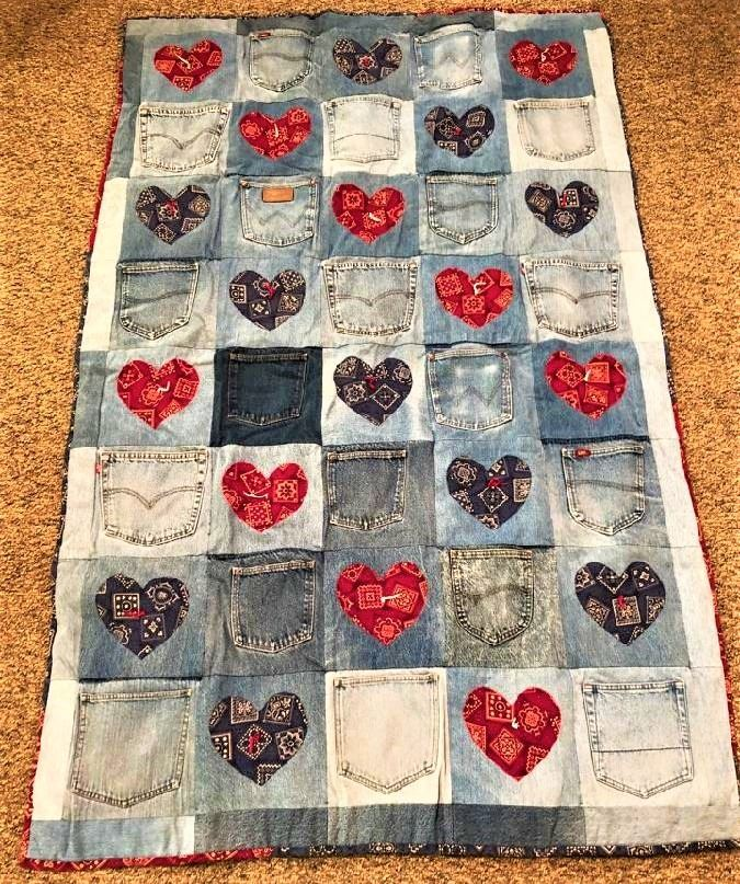 Denim Hearts and Pockets Quilt