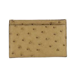 Gucci Beige Ostrich Card Holder Wallet