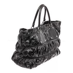 Prada Black Leather Gaufre Shoulder Bag