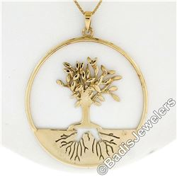 Vintage 14kt Yellow Gold Pierced and Textured Tree of Life Pendant Necklace