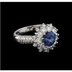 14KT White Gold 1.67 ctw Tanzanite and Diamond Ring