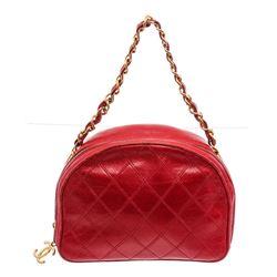 Chanel Vintage Red Quilted Leather Camera Shoulder Bag