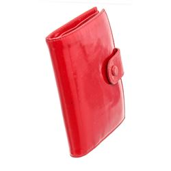 Chanel Red Patent Leather Compact Tab Wallet