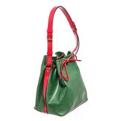 Louis Vuitton Green Red Epi Leather Noe PM Drawstring Shoulder Bag