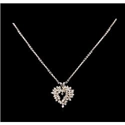14KT White Gold 0.55 ctw Diamond Pendant With Chain