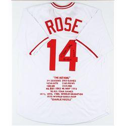 Cincinnati Reds Pete Rose Autographed Jersey With Stats