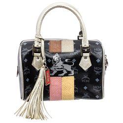 MCM Black Visetos Coated Canvas Leather Boston Bag