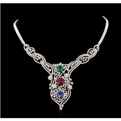 11.56 ctw Ruby, Sapphire, Emerald and Diamond Necklace - 14KT White Gold