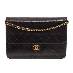 Chanel Vintage Black Quilted Lambskin Leather CC Flap Bag