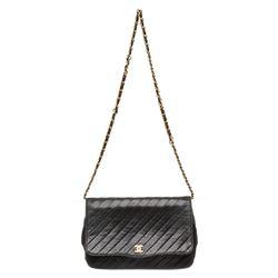 Chanel Black Calfskin Leather Vintage Diagonal Quilted Flap Shoulder Bag