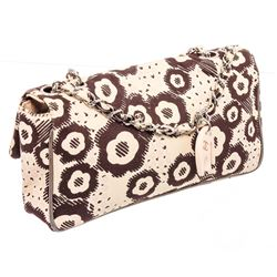 Chanel Brown Cream Camelia Pattern Fabric Flap Shoulder Bag