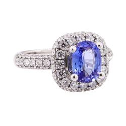 2.44 ctw Sapphire And Diamond Ring - 14KT White Gold
