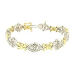 14k Solid Two Tone Gold Diamond Drenched 3.29 ctw UNIQUE Alternating Link Bracel