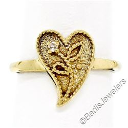 Vintage 14kt Yellow Gold Twisted Wire Heart Ring w/ Single Cut Diamond