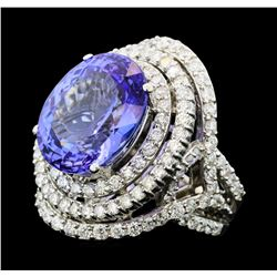 13.82 Tanzanite and Diamond Ring - 14KT White Gold