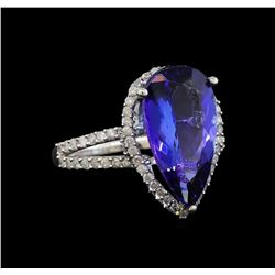 14KT White Gold 5.36 ctw Tanzanite and Diamond Ring