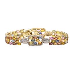 24.98 ctw Sapphire and Diamond Bracelet - 14KT Yellow Gold