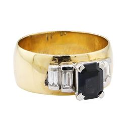 1.40 ctw Green Tourmaline and Diamond Ring - 14KT Yellow Gold