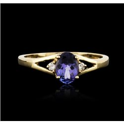 14KT Yellow Gold 0.93 ctw Tanzanite and Diamond Ring