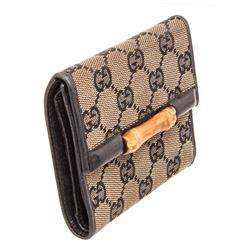 Gucci Tan Canvas Bamboo Compact Wallet