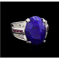 16.00 ctw Lapis Lazuli, Ruby and Diamond Ring - Platinum