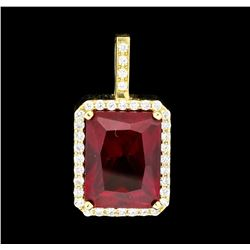 19.50 ctw Lab-Created Ruby and Diamond Pendant - 14KT Yellow Gold