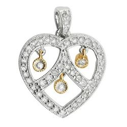 14k Two Tone Gold 0.50CTW Diamond Pendant, (I2 /H-I)